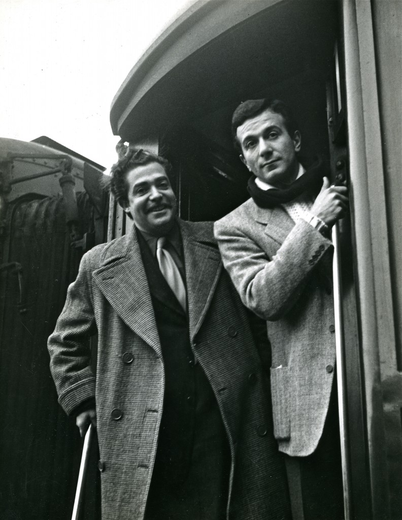 Antoni Clavé et Roland Petit partant à Hollywood, 1952