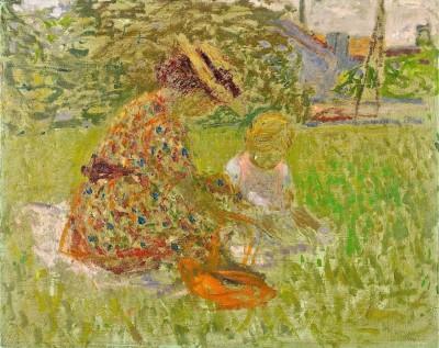Femme et enfant dans un parc - Antoni Clavé
