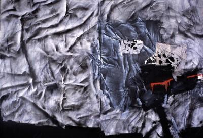 Toile froissée aux guerriers - Antoni Clavé