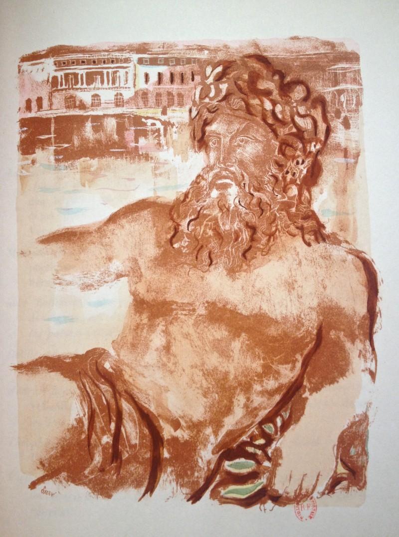 """Neptune – Illustration pour """"Versailles, songes et regrets"""" - Antoni Clavé"""