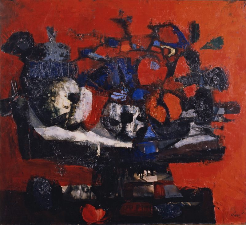 Nature morte au fond rouge - Antoni Clavé