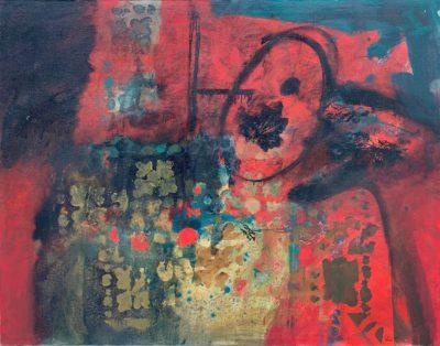Composition feuille rouge - Antoni Clavé